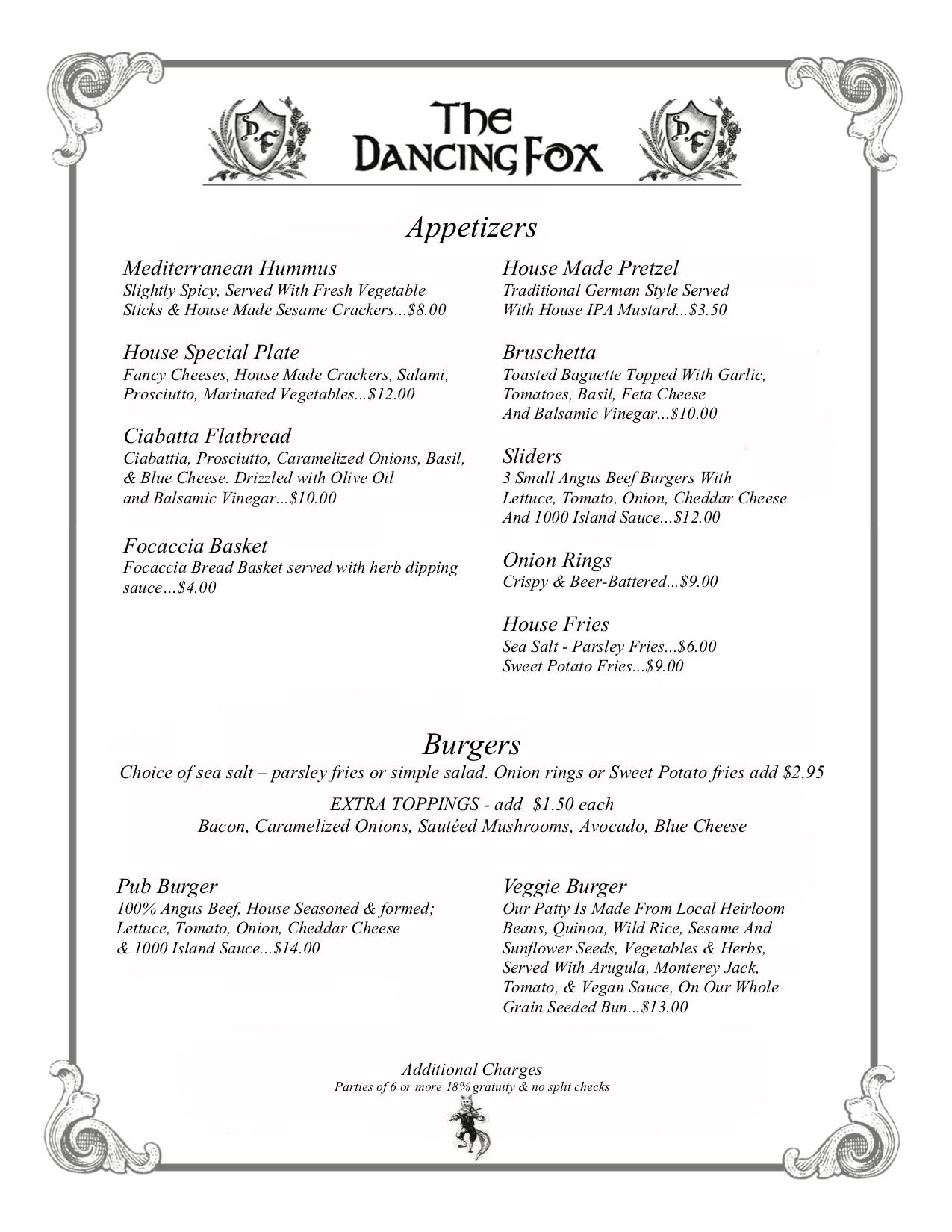 Dancing Fox - Menu